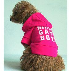 Pulovr s kapucí pro psy - tmavě růžový, L