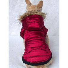Bunda pro psa s kapucí - tmavočervená - L