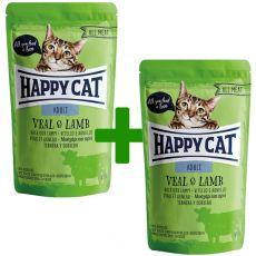 Kapsička Happy Cat ALL MEAT Adult Veal & Lamb 85 g 1+1 ZDARMA