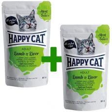 Kapsička Happy Cat MEAT IN SAUCE Adult Lamb & Liver 85 g 1+1 ZDARMA