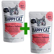 Kapsička Happy Cat MEAT IN SAUCE Adult Chicken & Salmon 85 g 1+1 ZDARMA
