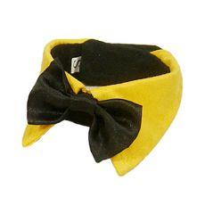 Motýlek pro psa - černý se žlutým límcem, S