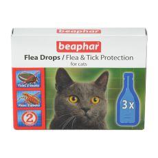 Kapky proti blechám a klíšťatům pro kočky - 3 ks