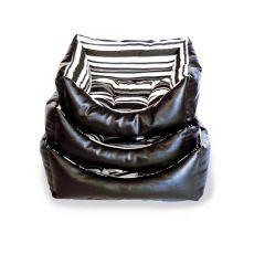 Lehátko pro psa, černý kožený obdélník - S