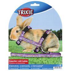 Postroj s vodítkem pro králíky - fialový