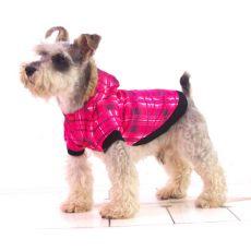 Bunda pro psa - károvaná, růžová, S