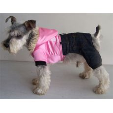 Bunda pro psa - lesklá růžová s kalhotami, XL