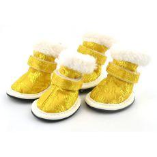 Boty pro psy, vyšívané zlaté - vel. 5