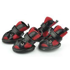 Boty pro psy, síťované červeno-černé - vel. 4