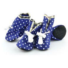 Boty pro psy, modré puntíkované - vel. 4