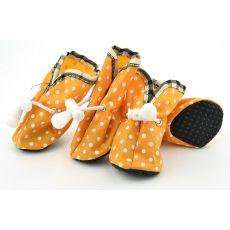 Boty pro psy, oranžové puntíkované - vel. 2