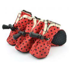 Boty pro psy červené, černé puntíky - vel. 3