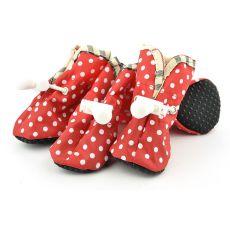 Boty pro psy červené, bílé puntíky - vel. 4