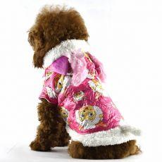 Bunda pro psa - růžová s kresleným beránkem, L