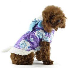 Bunda pro psa - fialová s kresleným beránkem, S