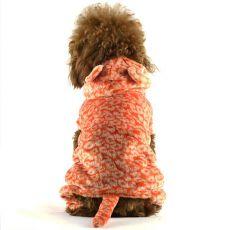 Overal pro psa - oranžový leopard s ocáskem, L