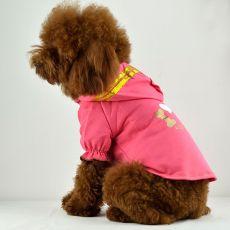 Tričko pro psy - růžové s kapucí a nápisem, XL