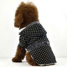 Kabát pro psy - puntíkovaný černý s kožešinkou, XS