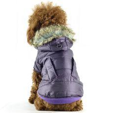 Větrovka pro psy - lesklá fialová s kožešinkou, S