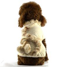 Kabátek pro psy - béžový s kožešinou, XL