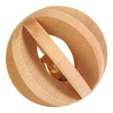Hračka pro králíka - dřevěná koule s rolničkou, 6 cm