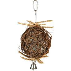 Míč pro ptáky - proutěný se zvonečkem, 10 cm