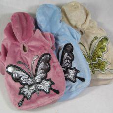 Mikina pro psy s motýlem - semišová, růžová, L