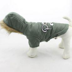 Větrovka pro psa s kapucí - olivová, L