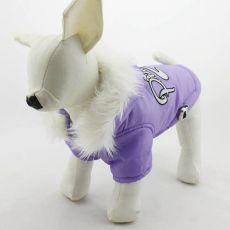 Větrovka pro psa s kapucí - fialová, XXL