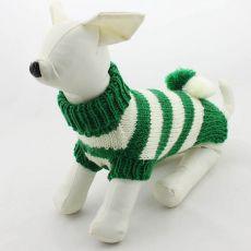 Svetr pro psy - pletený zelenobílý, L
