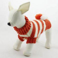 Svetr pro psy - pletený oranžovo-bílý, L