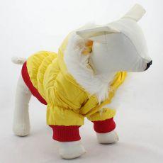 Větrovka pro psa - červenožlutá s kapucí, XS