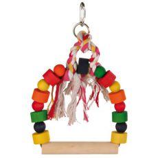 Hračka pro ptáky - barevná houpačka s provazem, 20 x 29 cm