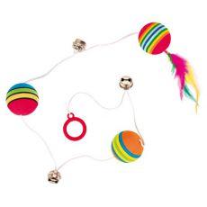 Hračka pro kočky - balonky a rolničky na šňůrce