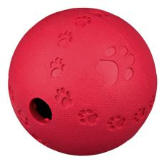 Míč na pamlsky pro psy - přírodní guma, 11 cm