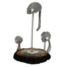 Hračka pro kočky - myši na pružině, 15 x 22 cm