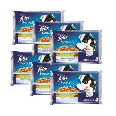 Kapsičky pro kočky FELIX - ryby se zeleninou v želé, 6 x 400 g