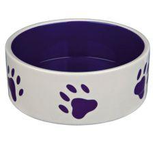 Miska pro psy, keramická - fialové tlapky, objem 1,4 l
