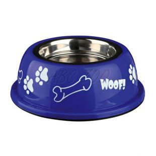 Miska pro psa s plastovým okrajem, modrá - 0,25 l