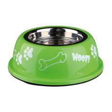Miska pro psa s plastovým okrajem, zelená - 0,9 l