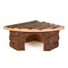 Domek pro hlodavce dřevěný, rohový - 22 x 15 x 10,5 cm