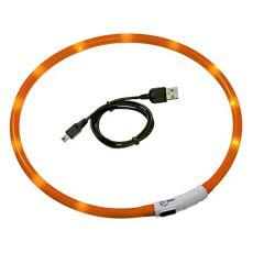 LED obojek pro psy DOG FANTASY - oranžový, 70 cm