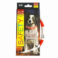 LED obojek pro psy DOG FANTASY - červený, 45 cm