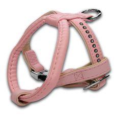 Postroj s kamínky pro psa, růžový - 1,5x25x30 cm