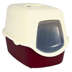 Toaleta pro kočky s dvířky a rukojetí - červená
