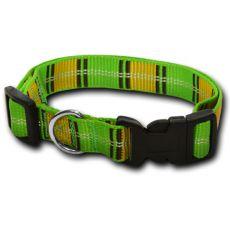 Nylonový obojek pro psa - károvaný zeleno-žlutý 2 x 33-51 cm