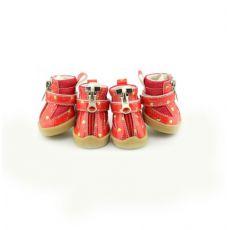 Boty pro psy - červené se srdíčky - zip, L