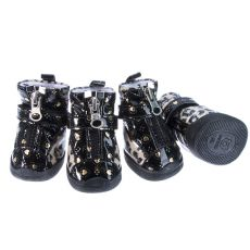 Boty pro psy - leopardí lesklé - béžové, XL