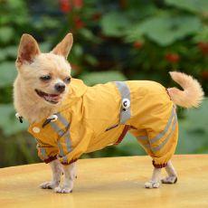 Pláštěnka pro psa reflexní - tmavě žlutá, S