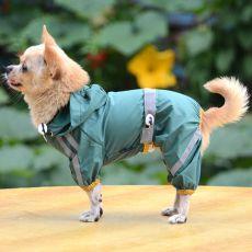 Pršiplášť pro psa reflexní - tmavozelený, XS